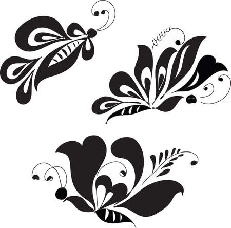 Stylish grafic butterflies on white background (illustration)