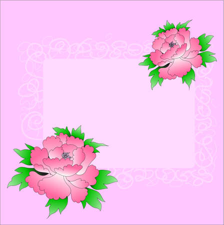 Pink greetings design with two roses