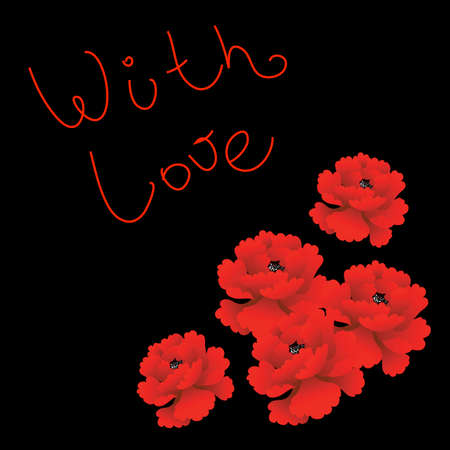 Design for lovers with red roses on black background