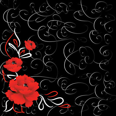 red rose black background: Decorative black background with bright red roses and grey swirls Illustration