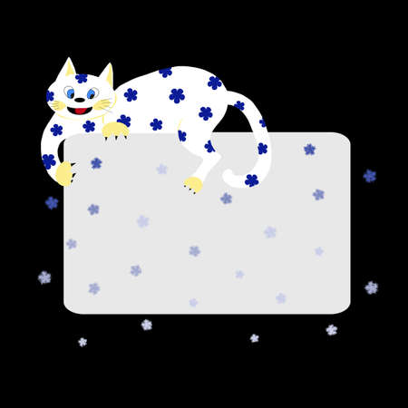 White cat (symbol of 2011) with greeting card and snow Vector