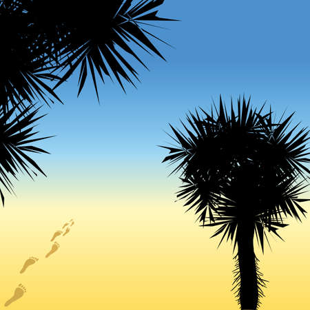 Black silhouettes of palm trees and human traces going to the sea