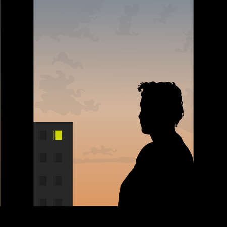 solitude: Sad man looks at window of the beloved on a decline Illustration