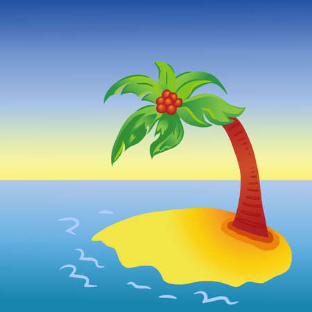 Bright cartoon palm tree on island Vector