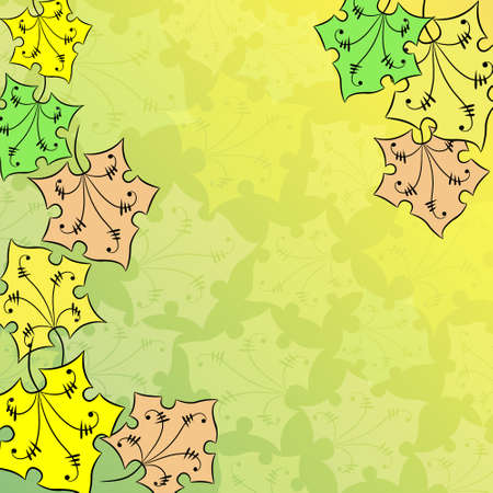 Autumn background with cartoon maple leaves Vector