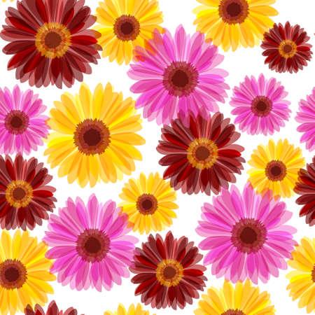 orange gerbera: Bright daisy flowers seamless Illustration