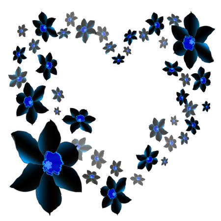 Dark floral gothic heart on white background