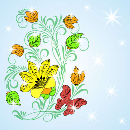 Colored floral background with small stars Vector