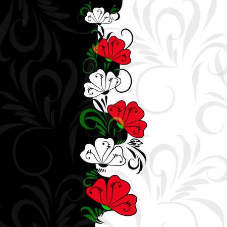 contraste: Contraste de color de fondo con flores blancas y rojas