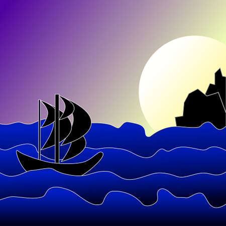 Cartoon boat in sea at night