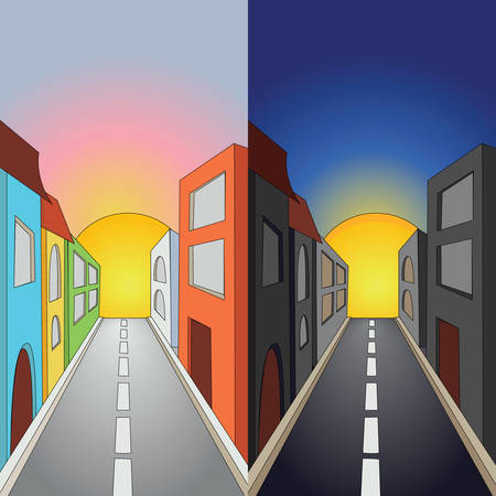 Set of 2 images of town street at day and night Stock Vector - 8581260