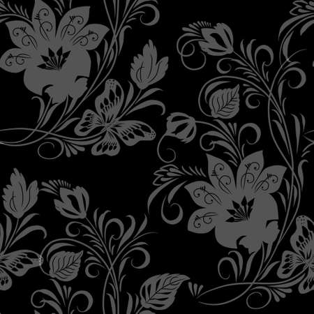 Vintage floral ornament on black background (seamless)