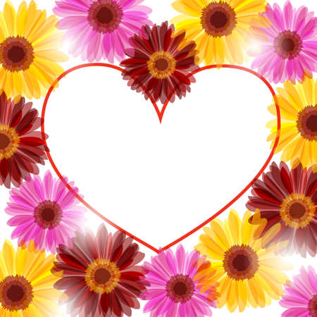 Daisy flowers frame in the form of heart Illustration