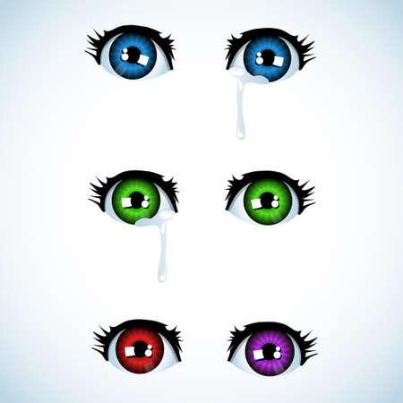 globo ocular: Llanto de ojos en estilo anime (variaciones de color diferente) Vectores
