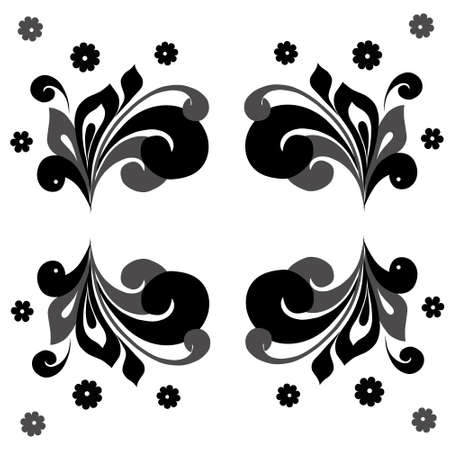 Monochrome horizontal frame with floral elements in retro style Illustration