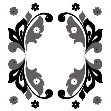 Monochrome vertical frame with floral elements in retro style Illustration