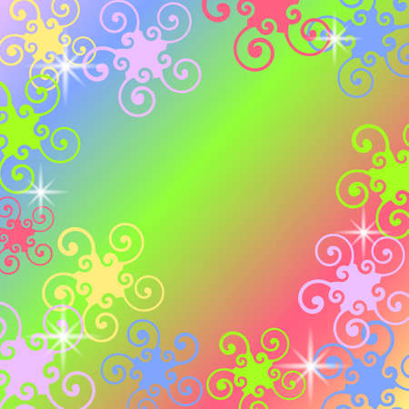 Background with colored swirl elements, stars and free space for your text
