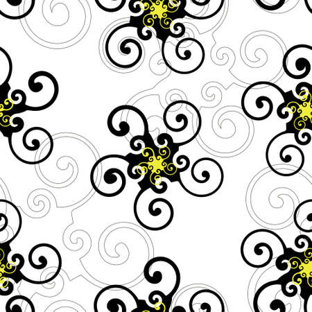 Background with black and yellow swirl elements (seamless) Vector