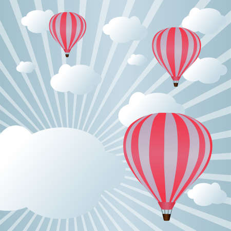 hot air: Background with hot air balloons among clouds in sunlight Illustration