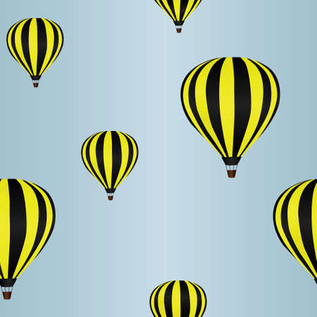 hot day: Background with hot air balloons in the sky (seamless)