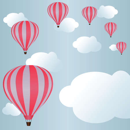 levitation: Hot air balloons among clouds in sky Illustration