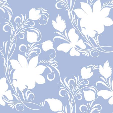 Monochroom bloemen sieraad op blauwe achtergrond (naadloos)