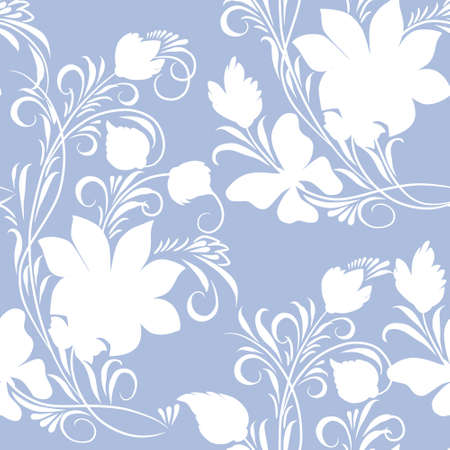 Monochrome floral ornament on blue background (seamless)