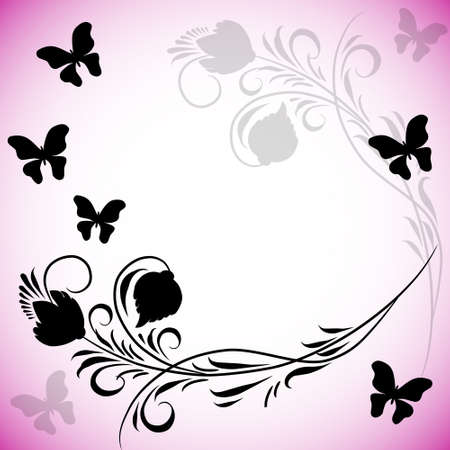 pink and black: Pink background with butterflies in retro style Illustration