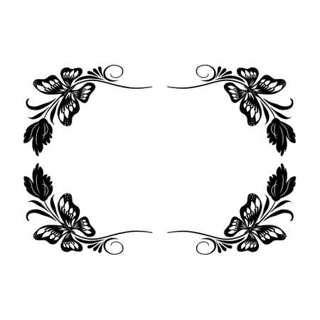 Isolated frame with butterflies and leaves in retro style