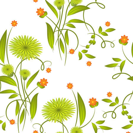 Abstract floral seamless on white background Illustration