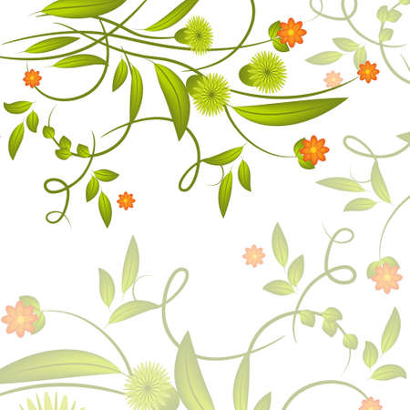 art painting: Abstract green flowers and leaves on white background Illustration