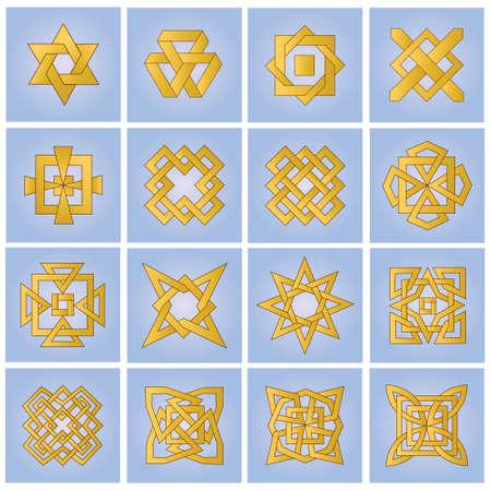 Set of ornamental elements for design
