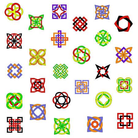 Set of bright colored ornamental elements for design Illustration