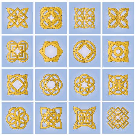 Set of gold ornamental elements for design Vector