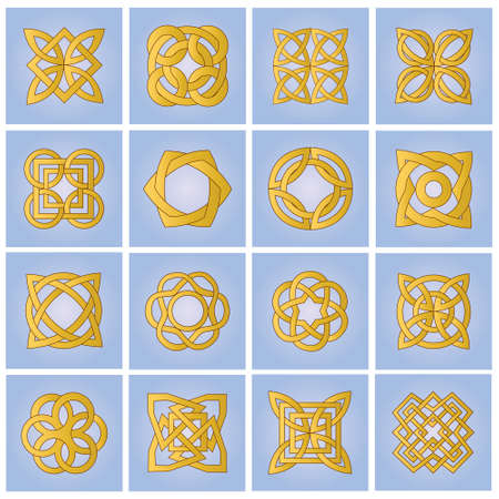 Set of gold ornamental elements for design Stock Vector - 9486026