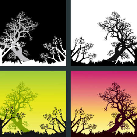 Set of 4 different color variations of background with trees silhouettes