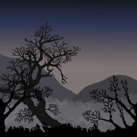 Silhouettes of trees and hills in mist in twilights Vector