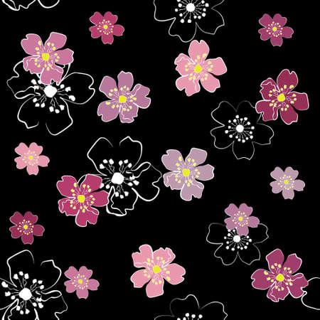 Sakura flowers on black background (seamless)
