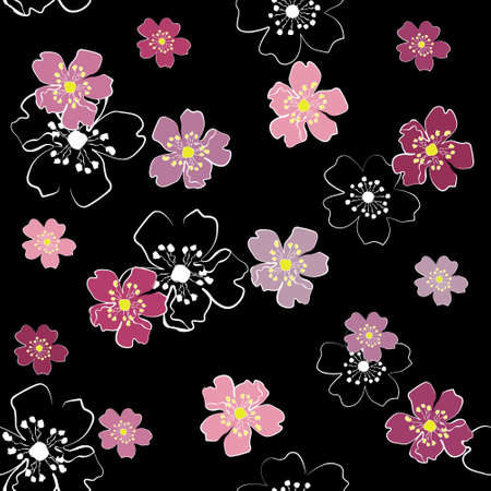 Sakura flowers on black background (seamless)