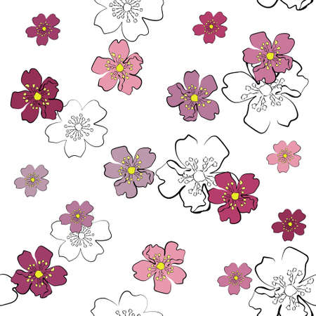 inflorescência: Seamless background with gentle sakura flowers