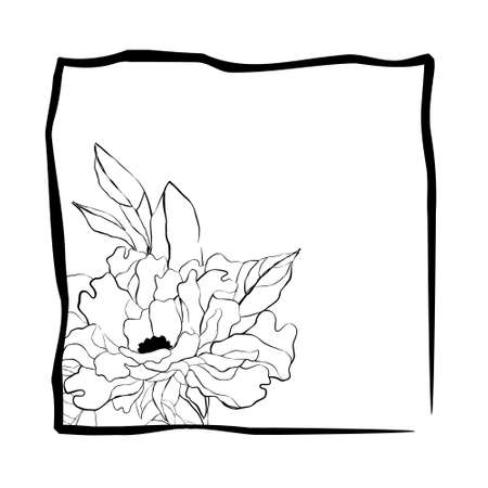 Pretty flower in frame in sketch style  Vector