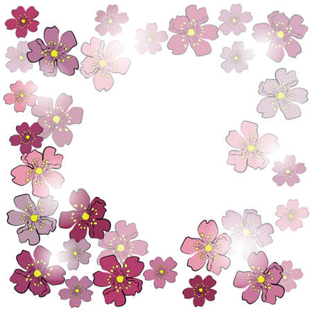 Frame from sakura flowers in sunlight Vector