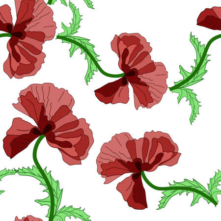 Seamless with purple poppies in retro style Illustration