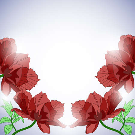 Background with poppies in sunlight in retro style Illustration