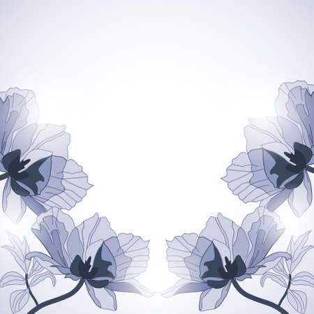Background with blue abstract flowers in sunlight