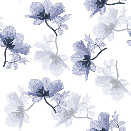 Seamless with blue poppies in retro style Illustration