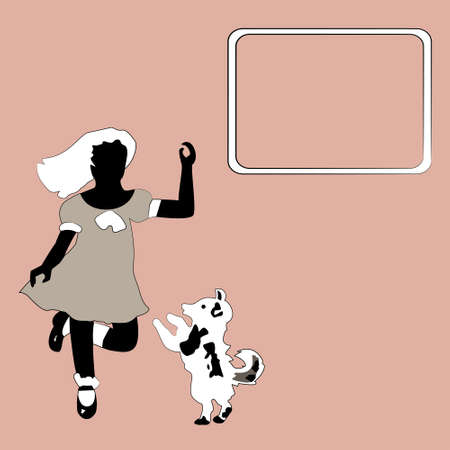 Vintage pink background with sillouettes of girl and dog Illustration