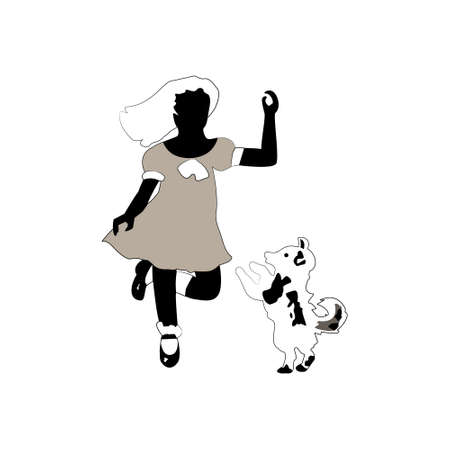 Vintage sillouettes of girl and dog (isolated) Illustration