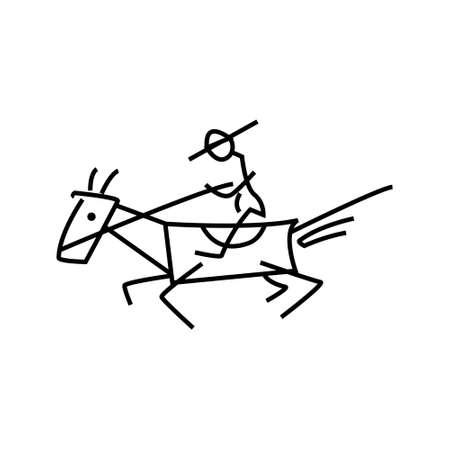 charro: Caballero en el estilo de dibujo (logotipo) Vectores
