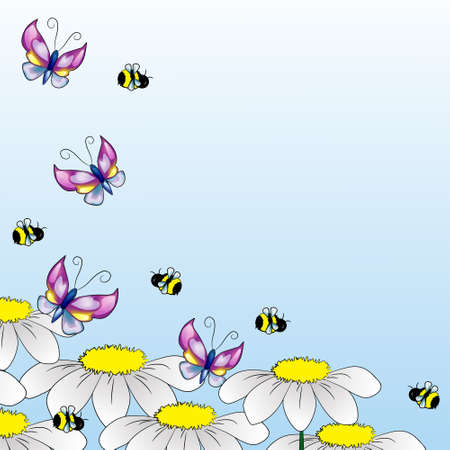 Background with cute butterflies, bees and chamomiles Illustration